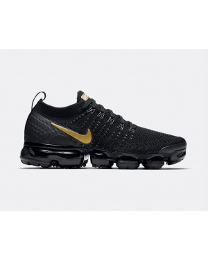 942843-012 Nike Dames Air VaporMax Flyknit 2 - Zwart/Metallic Gold-Metallic Platinum