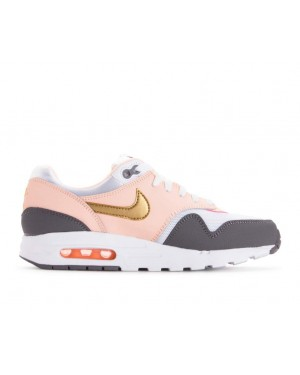 807605-104 Nike Air Max 1 GS Schoenen - Wit/Metallic Goud/Gunsmoke