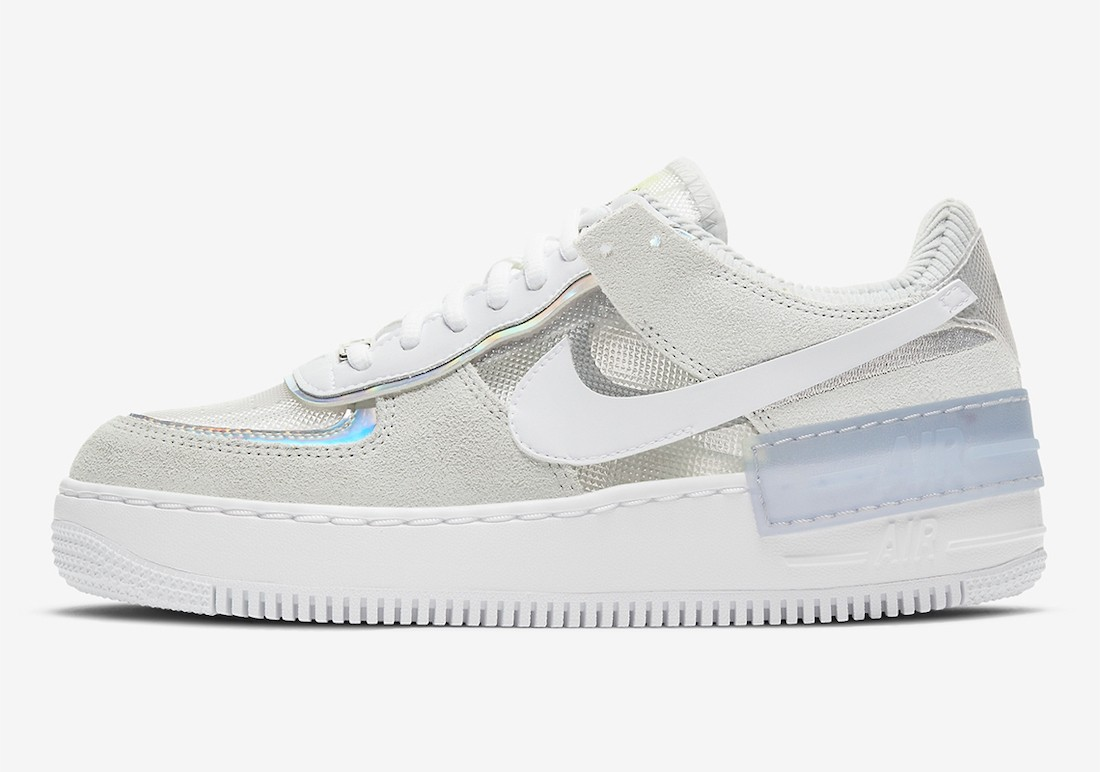 DC5255-043 Nike Dames Air Force 1 Shadow - Pure Platinum/Wit-Metallic Silver