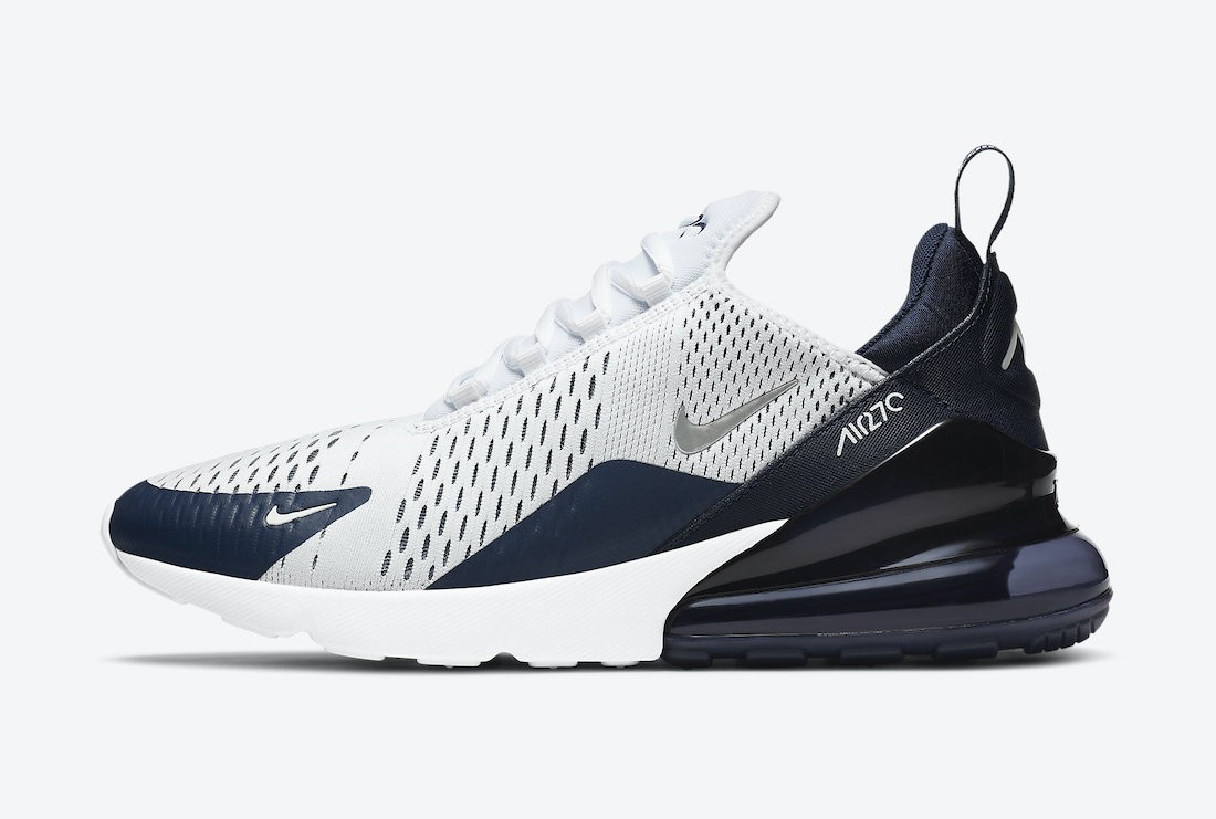 "DH0613-100 Nike Air Max 270 ""Midnight Navy"" - Wit/Midnight Navy-Metallic Silver"
