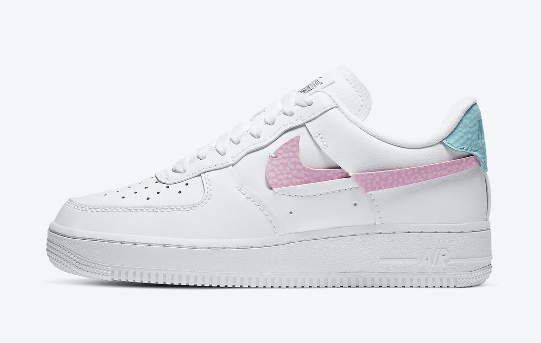 DC1164-101 Nike Dames Air Force 1 LXX - Wit/Roze-Bleached Aqua