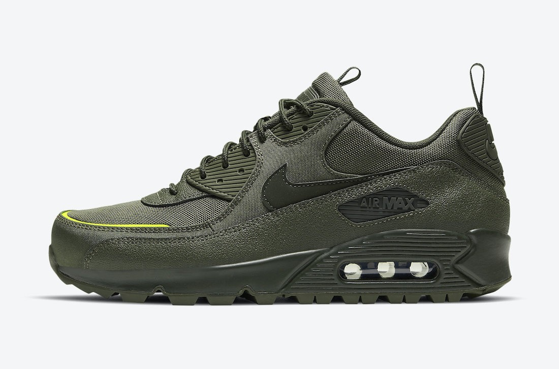 CQ7743-300 Nike Air Max 90 Surplus Heren - Cargo Khaki/Sequoia-Lemon Venom
