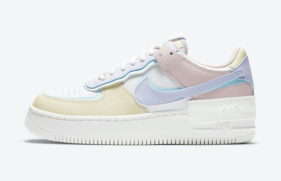 CI0919-106 Nike Dames Air Force 1 Shadow - Wit/Blauw-Fossil-Ghost