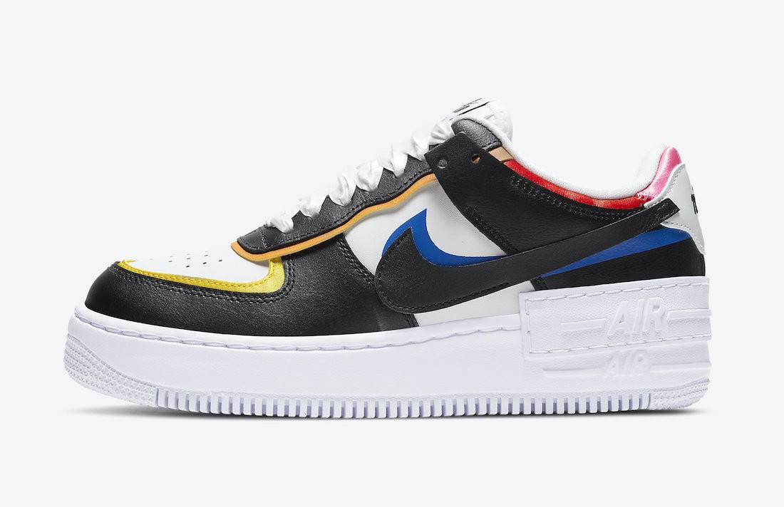 DC4462-100 Nike Dames Air Force 1 Shadow - Wit/Zwart-Multicolored