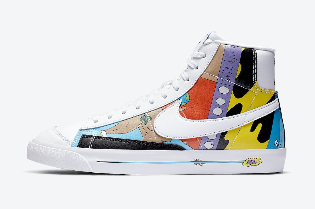 CZ3775-900 Ruohan Wang x Nike Blazer Mid '77 Flyleather - Wit/Multicolor