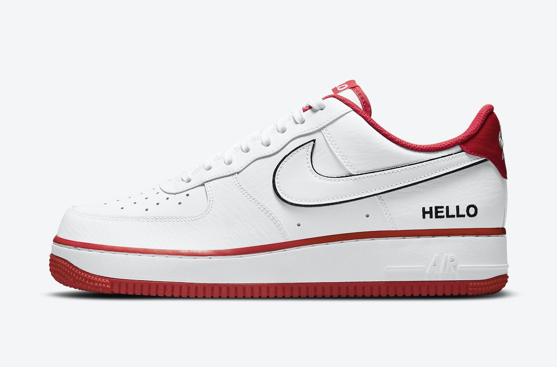 """CZ0327-100 Nike Air Force 1 Low """"Hello"""" - Wit/Wit-Rood-Zwart"""