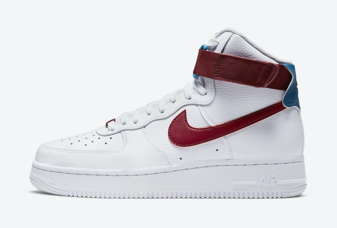 334031-119 Nike Dames Air Force 1 High - Wit/Rood-Groen