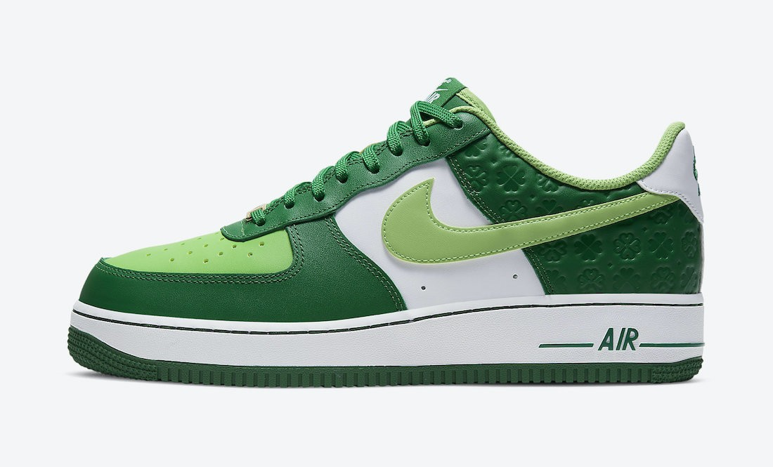 """DD8458-300 Nike Air Force 1 """"St. Patrick's Day"""" - Groen/Wit-Goud"""