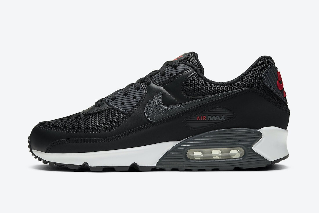 DH4095-001 Nike Air Max 90 - Zwart/Rood-Wit