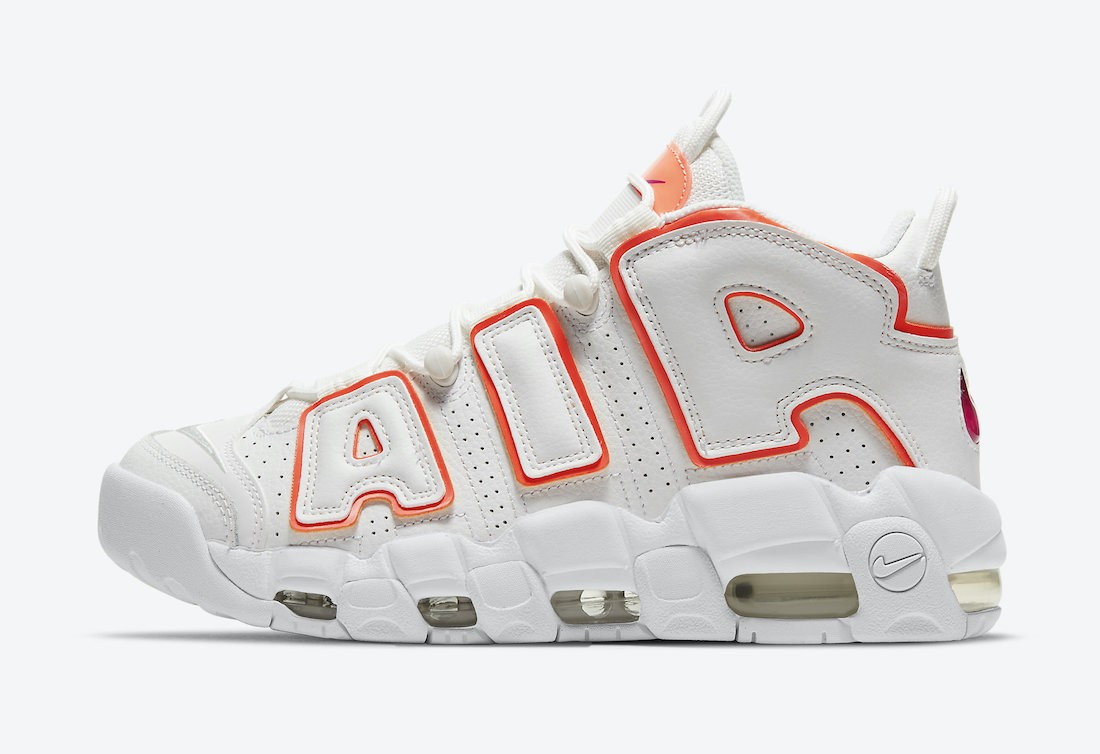 """DH4968-100 Nike Air More Uptempo """"Sunset"""" - Wit/Oranje"""