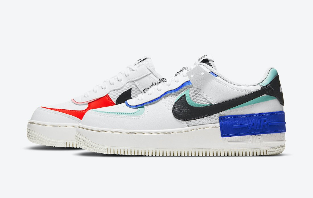 DH1965-100 Nike Dames Air Force 1 Shadow - Wit/Rood-Sunset Pulse-Zwart