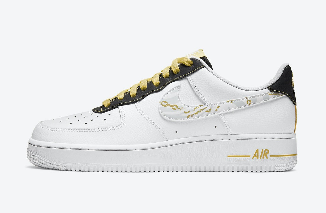 DH5284-100 Nike Air Force 1 Low - Wit/Zwart-Geel