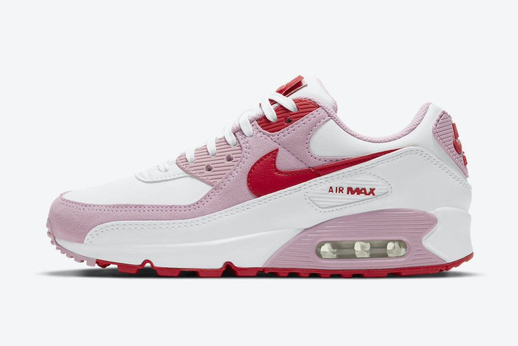 """DD8029-100 Nike Air Max 90 """"Valentine's Day"""" - Wit/Rood-Roze"""
