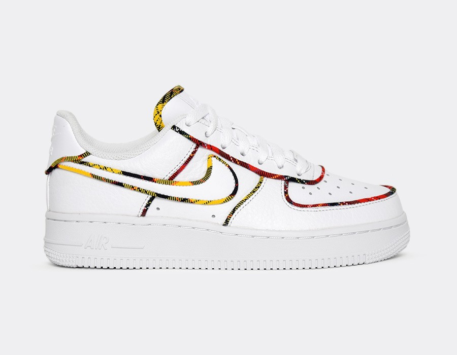 AV8218-100 Nike Dames Air Force 1 Low - Wit/Rood-Amarillo