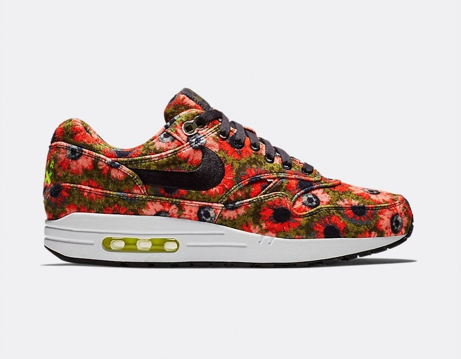 858876-003 Nike Air Max 1 Premium SE - Zwart/Flash Crimson-Faded Spruce