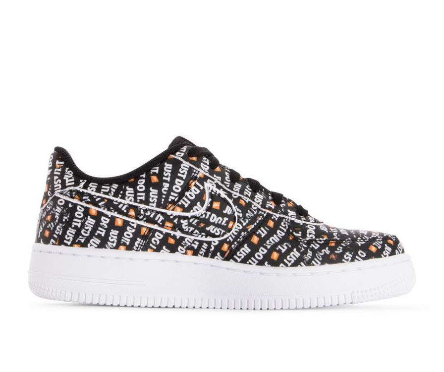AO3977-001 Nike Air Force 1 JDI Premium GS - Zwart/Oranje-Wit