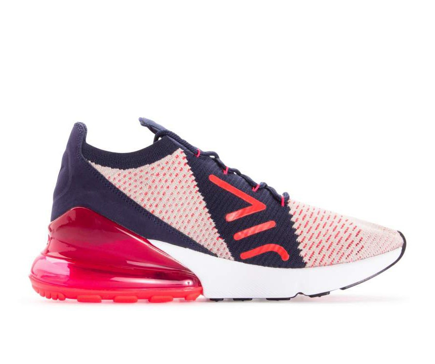 AH6803-200 Nike Dames Air Max 270 Flyknit - Moon Particle/Rood-Blauw