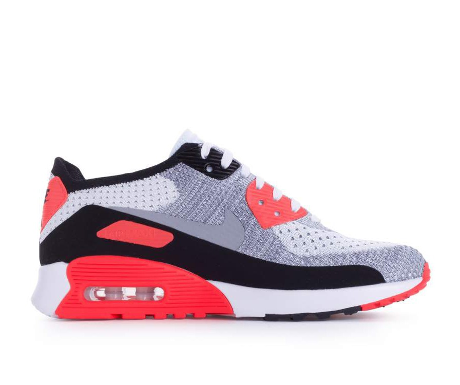 881109-100 Nike Dames Air Max 90 Flyknit Ultra 2.0 - Wit/Grijs/Bright Crimson/Zwart