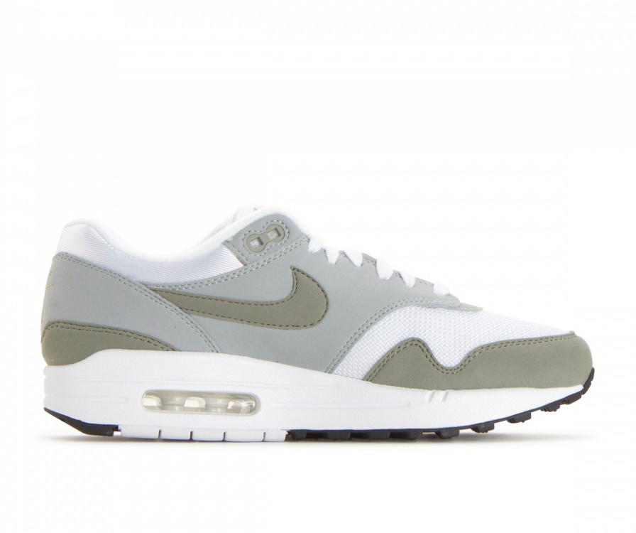 319986-105 Nike Dames Air Max 1 - Wit/Dark Stucco/Light Pumice-Zwart