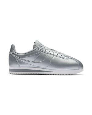 Nike Dames Classic Cortez Leather Metallic Silver/Zilver 807471-003