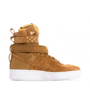 857872-203 Nike Dames Sf Air Force 1 - Muted Bronze/Muted Bronze-Wit