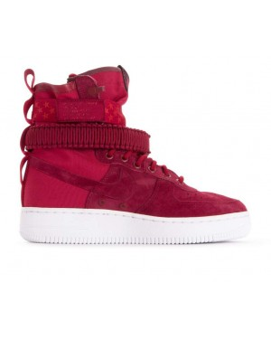 857872-601 Nike Dames Sf Air Force 1 - Rood/Wit-Burgundy